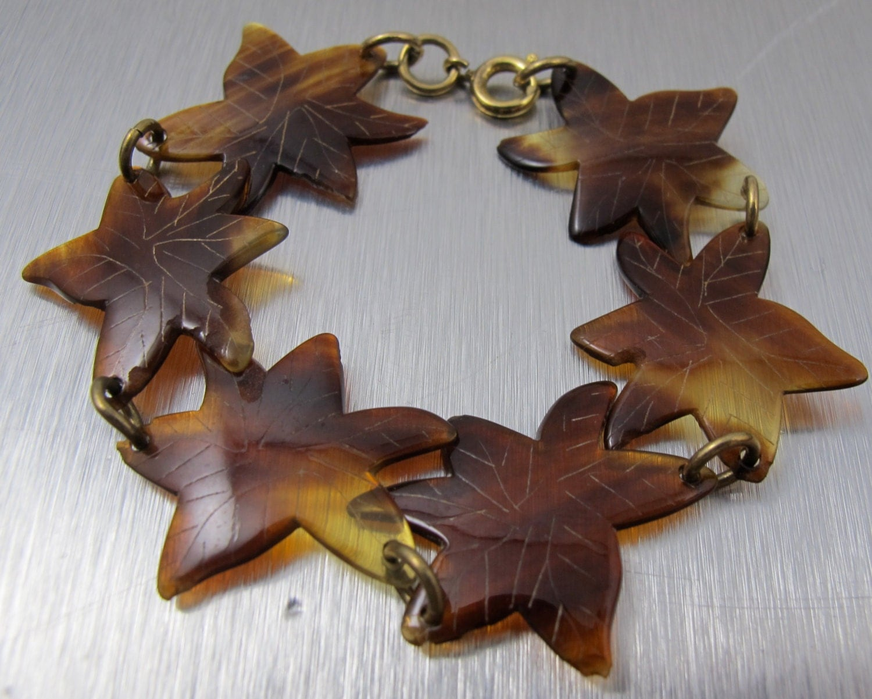 Art Deco Bracelet Etched Leaves Tortoise By TonettesTreasures