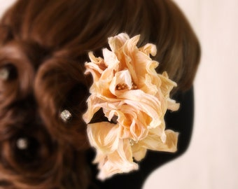 Bridal hand dyed silk flower hair comb, headpiece - Flower comb, Ready to Ship