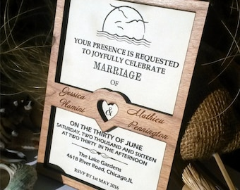 Seagull invitation card, destination wedding invitation
