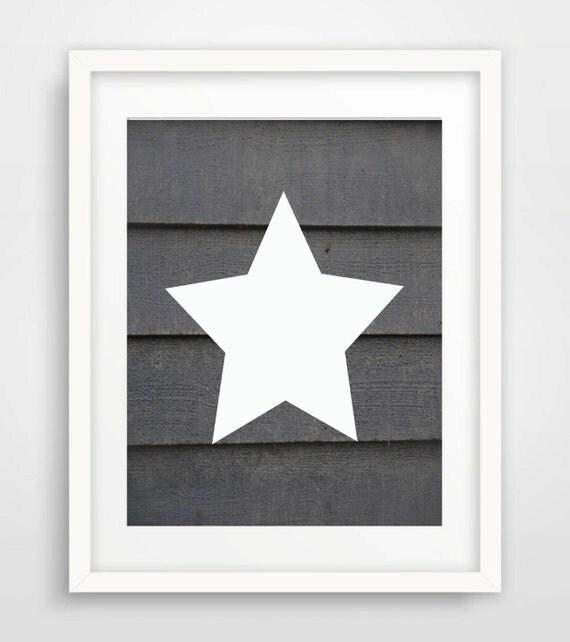 Grey Star Wall Decor : Rustic wood nursery wall art star print grey by