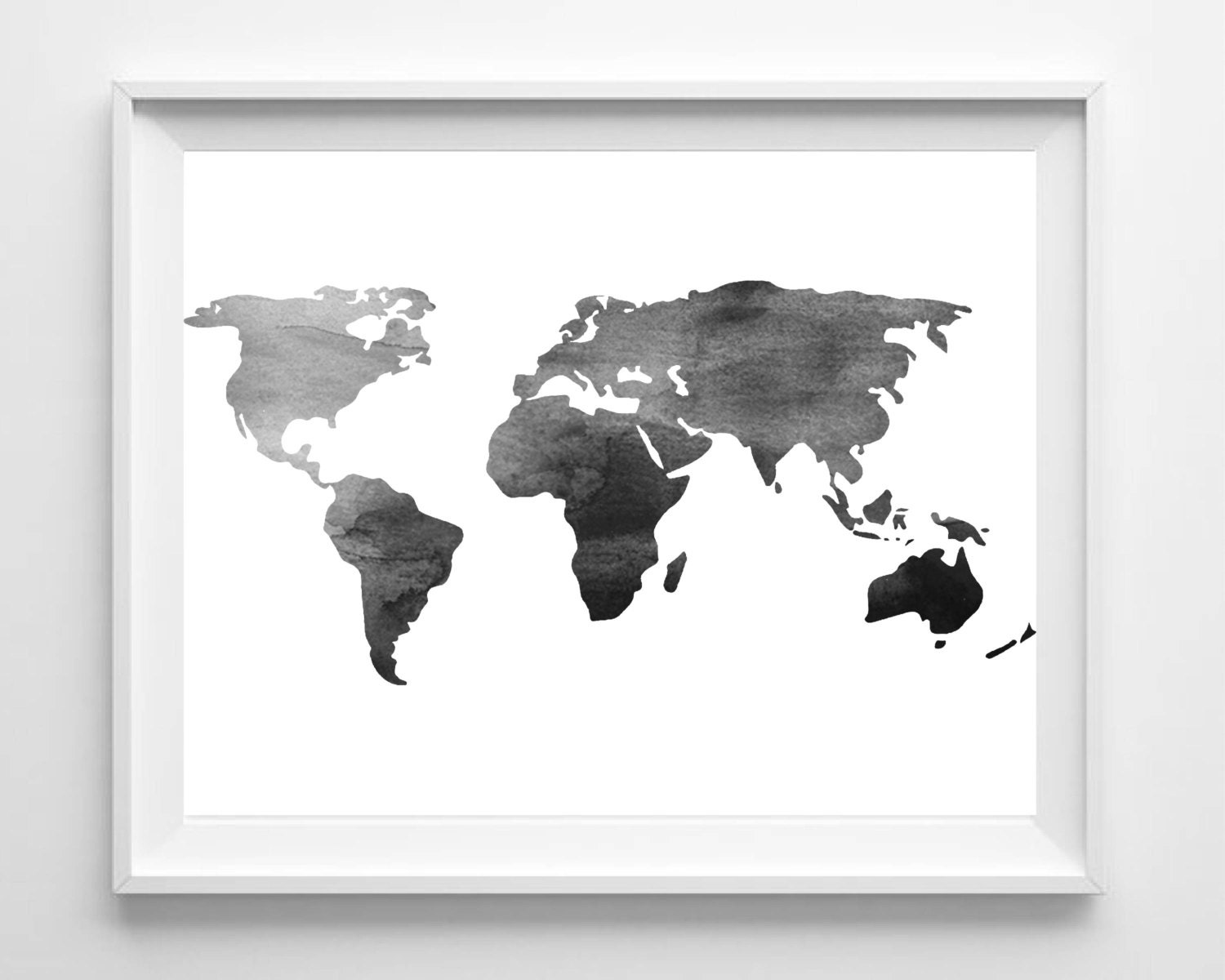 Watercolor world map print printable black white wall art for Modern black and white wall art
