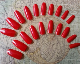 20 Fire Engine Red Press on Nails - Glue on Nails - Artificial Nails - Fake Nails - Long Fake Nails - Round Tip nails - Red Nails