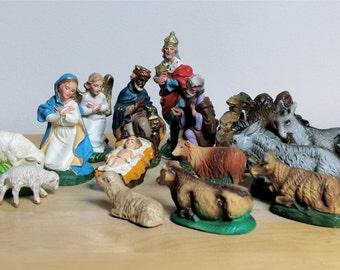 Vintage Ceramic Nativity Set, Italy, Germany, 15 piece set.
