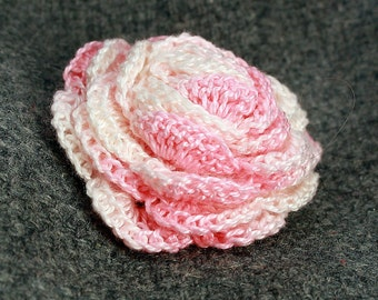crochet brooch, pink rose crochet brooch