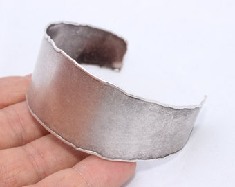 Handmade Silver Brass Cuff Bracelet Bangle ( Width 30 mm ) Antique Silver Cuff Bracelet Blank - Silver Bangle , CF