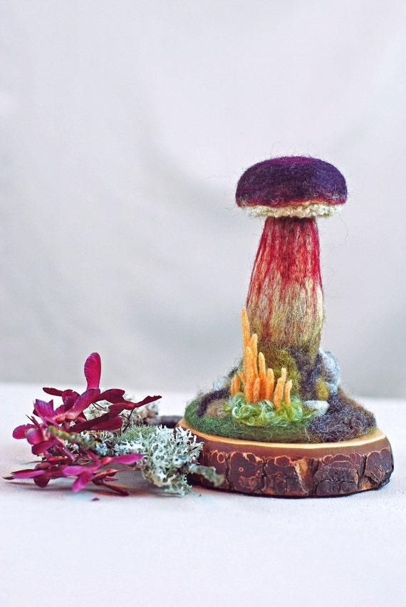 Needle Felted  Mushroom Sculpture- Zeller's Bolete Mushroom, READY TO SHIP