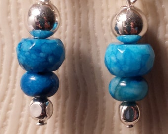 Agate Stone and Silver Dangle Earrings