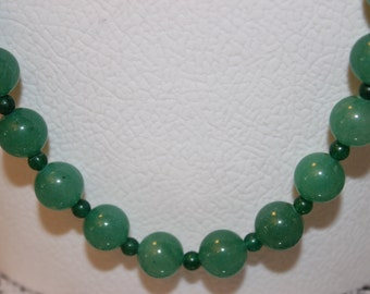 Green Glass Beaded Necklace with Green Spacers (Item #0098N)