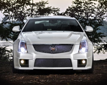 Poster of Cadillac White Front CTS-V HD Print