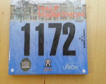 One Race Bib Coaster - Your race bib individually turned into coasters - Race Bib - Gifts for Runners Race Bib Display