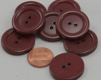"""Lot of 8 Large Dark Chocolate Brown Plastic Buttons 1"""" 25mm # 6529"""