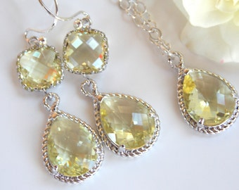 Bridesmaid Jewelry, Yellow Earrings and Necklace Set, Light Yellow, Citrine, Soft Yellow, Sterling Silver, Pendant Set, Dangle,Wedding Gifts