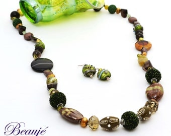Green necklace Brown necklace Gemstone Semi-precious Necklace & Earrings set Sterling Silver Lampwork beads Silver beads Glass beads Beauje