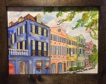 Rainbow Row-Watercolor Print