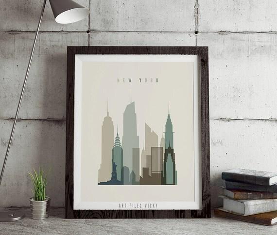 New York poster print, Poster wall art, New York art print, City art poster, typography art poster, New York digital print. ART FILES VICKY