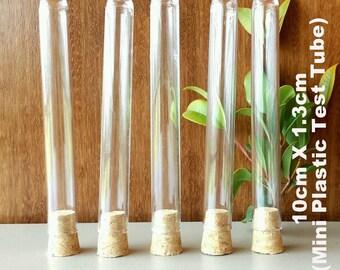 10Pcs mini Plastic test tubes with cork Top Wedding bomboniere, Lolly Buffet (10cm x 1.3cm)