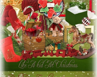 Christmas themed digital scrap kit