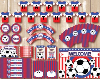 ON SALE! Soccer Party Package. Instant download. Printable. Matching Custom invitation available. USA soccer inspired printables.