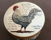 Rooster Round Storage Hat Box! Cardboard with designs all over! Storage or display! Picture storage box. Gift giving box! Rooster decoration