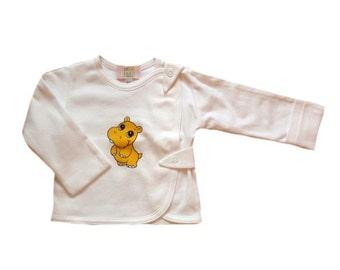 Newborn shirt, baby shirt with mittens,  organic cotton baby shirt, baby shirt, white baby shirt