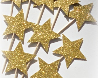 Glitter Gold Star double-sided  Cupcake Toppers, Food Picks