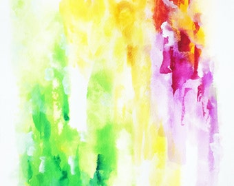 "Original Abstract Watercolor 'Transition' by Shaolan Sung-10""x14""-Yellow, Red, Green. Purple-Colorful Painting-Sky-With COA"