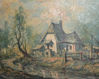 1928 Antique European art oil man landscape oil painting signed