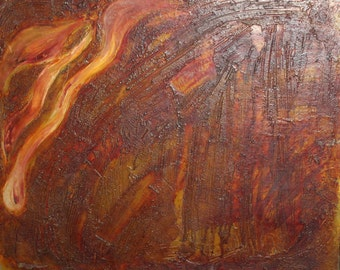 1990 Bulgarian art abstract oil painting signed