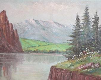 Vintage European landscape river oil painting