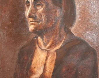 Vintage European art oil painting portrait woman
