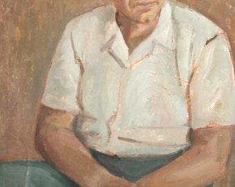 Vintage European art oil painting portrait child