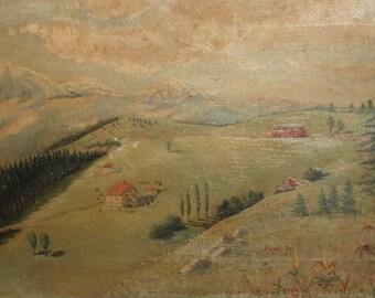 Antique Bulgarian art oil painting pine tree landscape