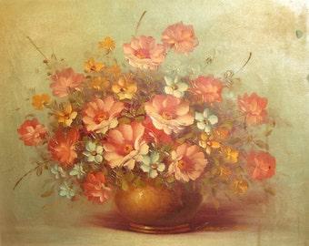 Vintage European art impressionist oil painting still life with flowers