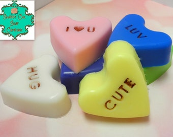 Conversation Heart soap bars - Set of 1, 3 or 6 - Valentine's Day Gift, Kid's Valentine Gift, Sweetheart Bath Set, Shea Butter Soap