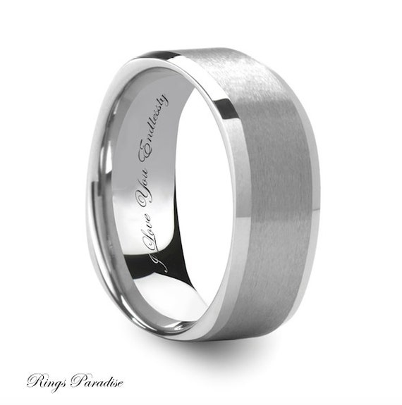 items similar to mens tungsten wedding band his promise