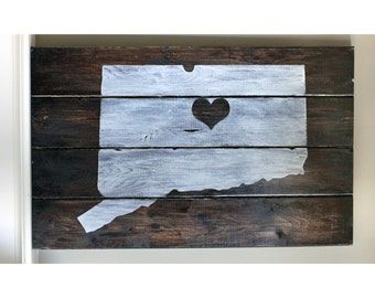 Rustic Connecticut State Silhouette Art Wood Sign