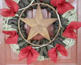Rustic, Western, Natural, Red, Dark Brown, Star, Burlap, Everyday, Wreath