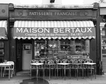 London Photography, Maison Bertaux, Black and White, French Cafe, Coffee Shop, Travel Photography, Fine Art Photo, Kitchen Decor, Wall Art