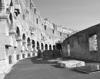 Rome Photography, Rome Print, Colosseum, Black and White, Travel Photography, Rome Italy, Europe Wall Art, Ruins, Architecture, Home Decor