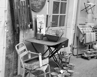 France Photography, Black and White, Fine Art Print, Europe, Provence, Village, French, Antique, Shop, Travel Photo, Home Decor, Wall Art