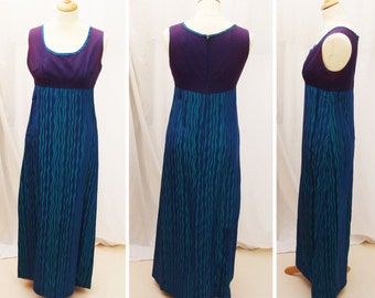 1970s Blue Long Evening Dress green wavy satin pattern sleeveless maxi