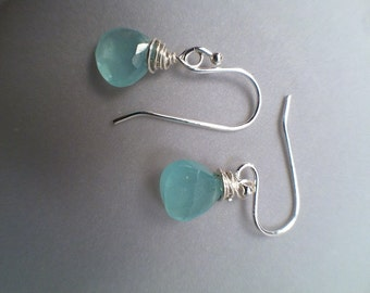 Aqua Blue Chalcedony 7mm Faceted Briolette Earrings with Sterling Silver wire, Bridal, Mother's Day, Birthday, Wedding