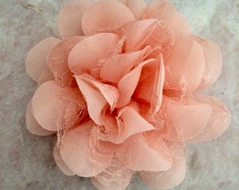 Chiffon and lace flower, large flower, peach, flower, lace flower, flower puff, flower supplies, DIY supplies,