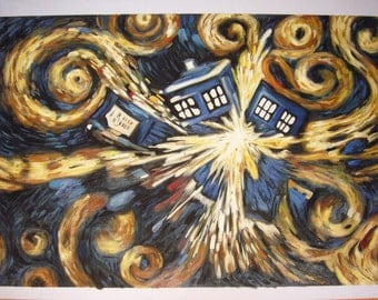 100%handpainted doctor who Exploding Tardis (Blue Box Exploding) oil painting reproduction for home decor wall art2