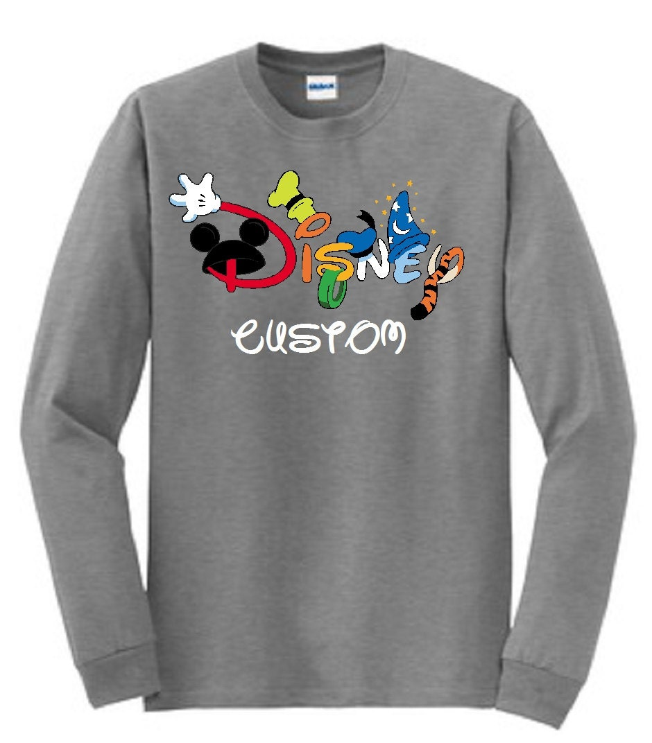 Disney customized printed long sleeve t shirt by for Custom printed long sleeve t shirts