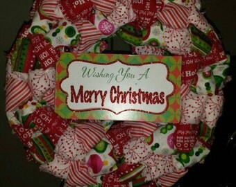 Sale!! Wishing You a Merry Christmas!! Hand-tied Fabric Bow Wreath.