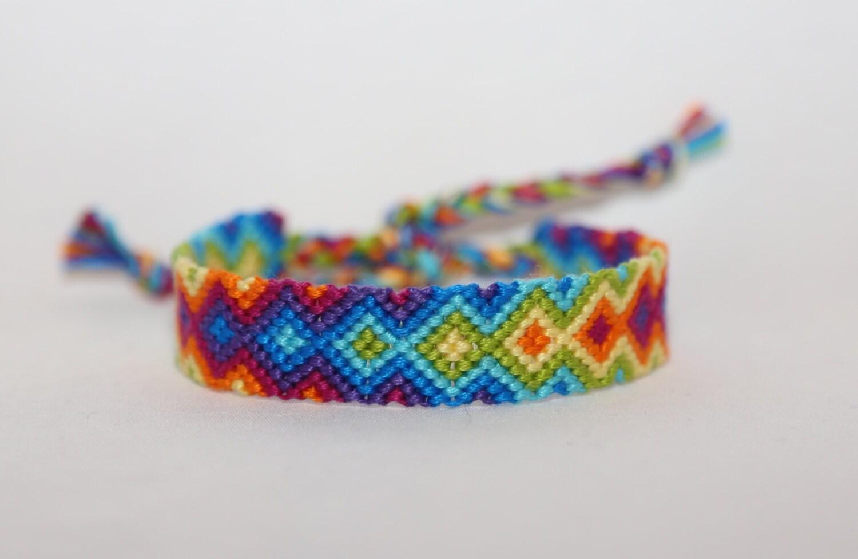 friendship bracelet handmade bright rainbow arrowhead