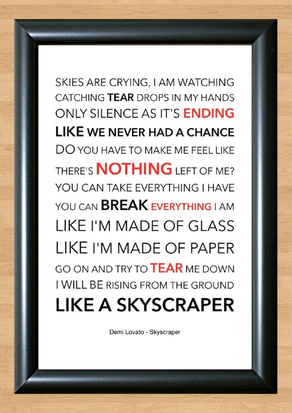 demi lovato skyscraper lyrical song art poster by
