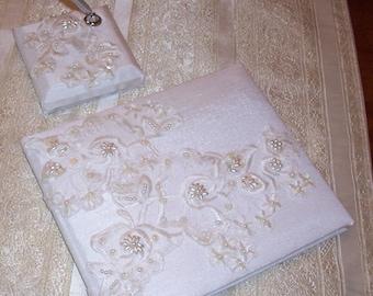Wedding Guest Book and pen, White Shantung Wedding Guest Book