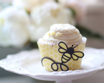 Honeycomb Bee Cupcake Wrapper OR Glittered Bee Topper (12)